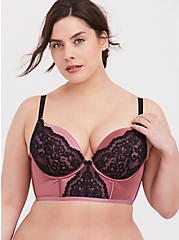 Plus Size Rose Pink Microfiber & Black Lace Push-Up Plunge Longline Bra, MESA ROSA, hi-res