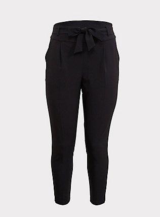 Black High Waist Front Tie Tapered Pant, DEEP BLACK, flat