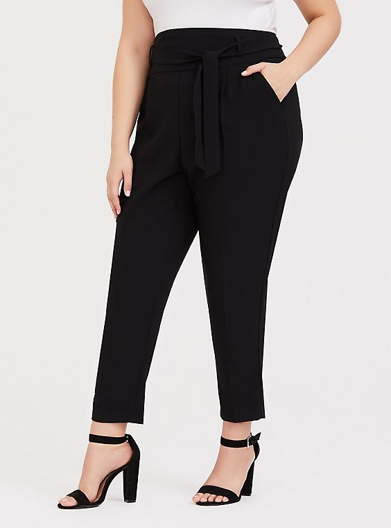 Black High Waist Front Tie Tapered Pant, , hi-res