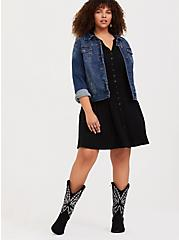 Black Oiled Faux Leather Stitched Western Boot (WW), BLACK, alternate