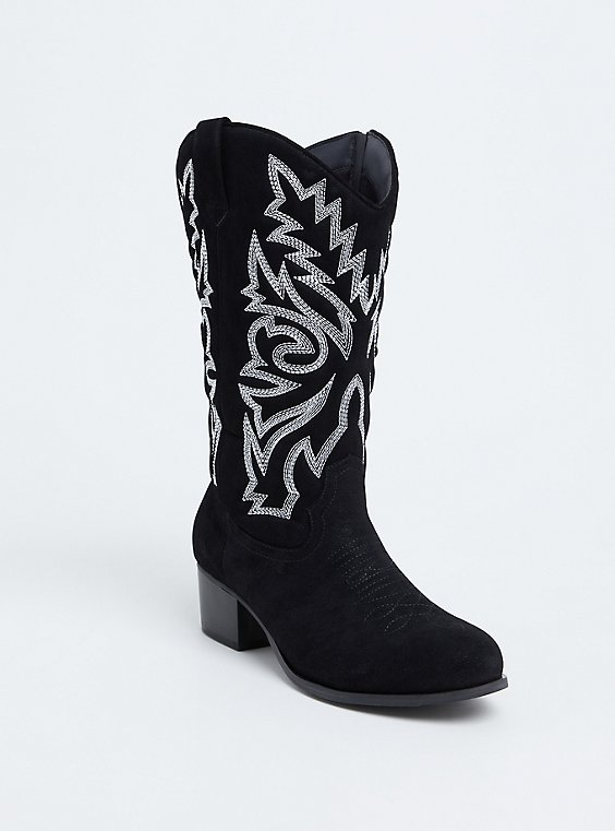 Black Oiled Faux Leather Stitched Western Boot (WW), , hi-res