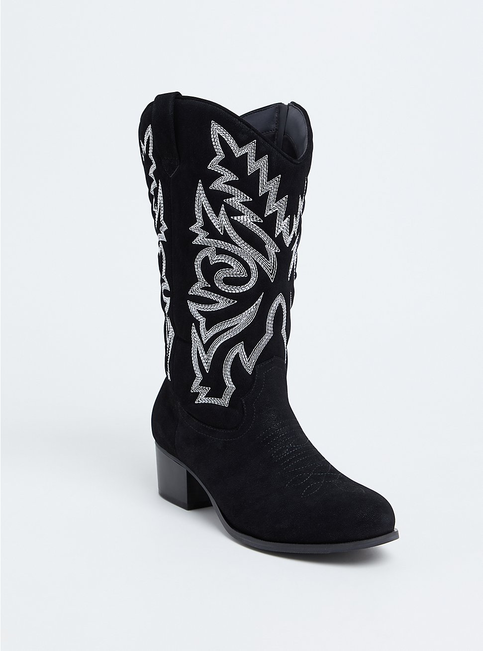 Black Oiled Faux Leather Stitched Western Boot (WW), BLACK, hi-res