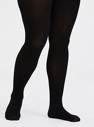 Black Rib Control Top Tights, BLACK, hi-res