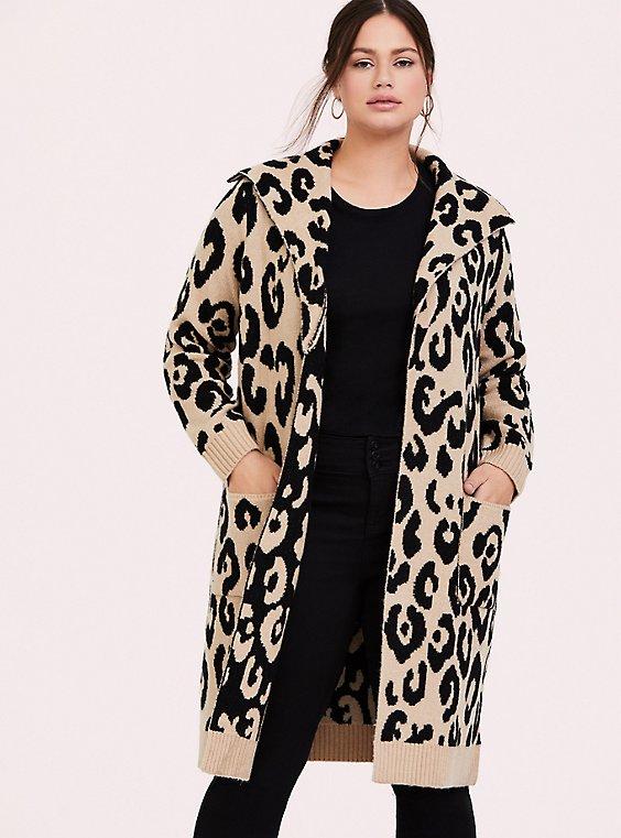Leopard Longline Cardigan Coat , , hi-res