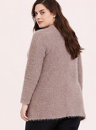 Dark Taupe Fuzzy Knit Cardigan, TOFFEE BROWN, alternate