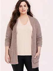 Dark Taupe Fuzzy Knit Cardigan, TOFFEE BROWN, hi-res