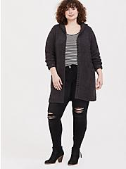 Charcoal Grey Boucle Hooded Cardigan Coat, GREY  CHARCOAL, alternate