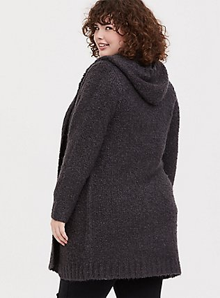 Charcoal Grey Boucle Hooded Cardigan Coat, GREY  CHARCOAL, alternate