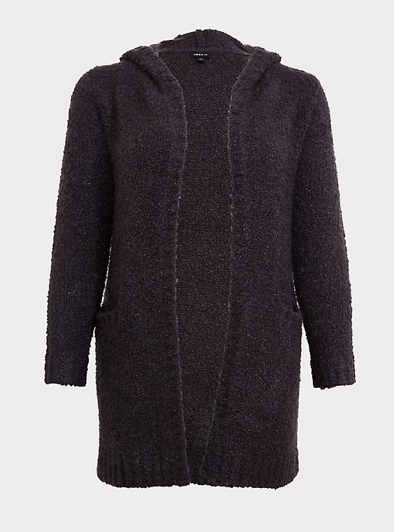 Charcoal Grey Boucle Hooded Cardigan Coat, , flat