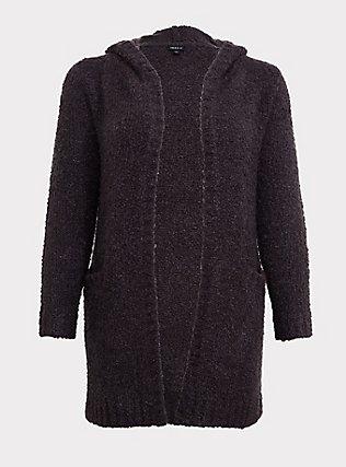 Charcoal Grey Boucle Hooded Cardigan Coat, GREY  CHARCOAL, flat