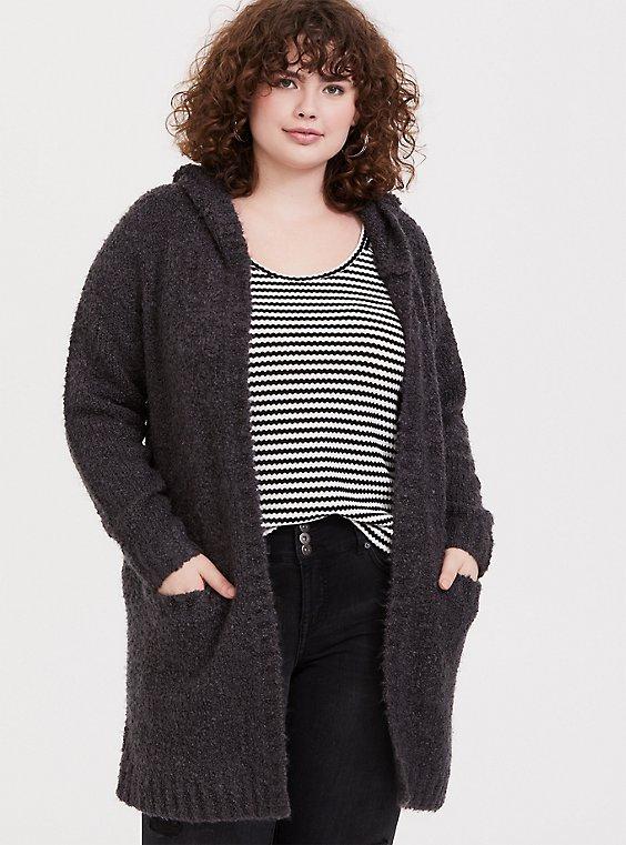 Charcoal Grey Boucle Hooded Cardigan Coat, , hi-res