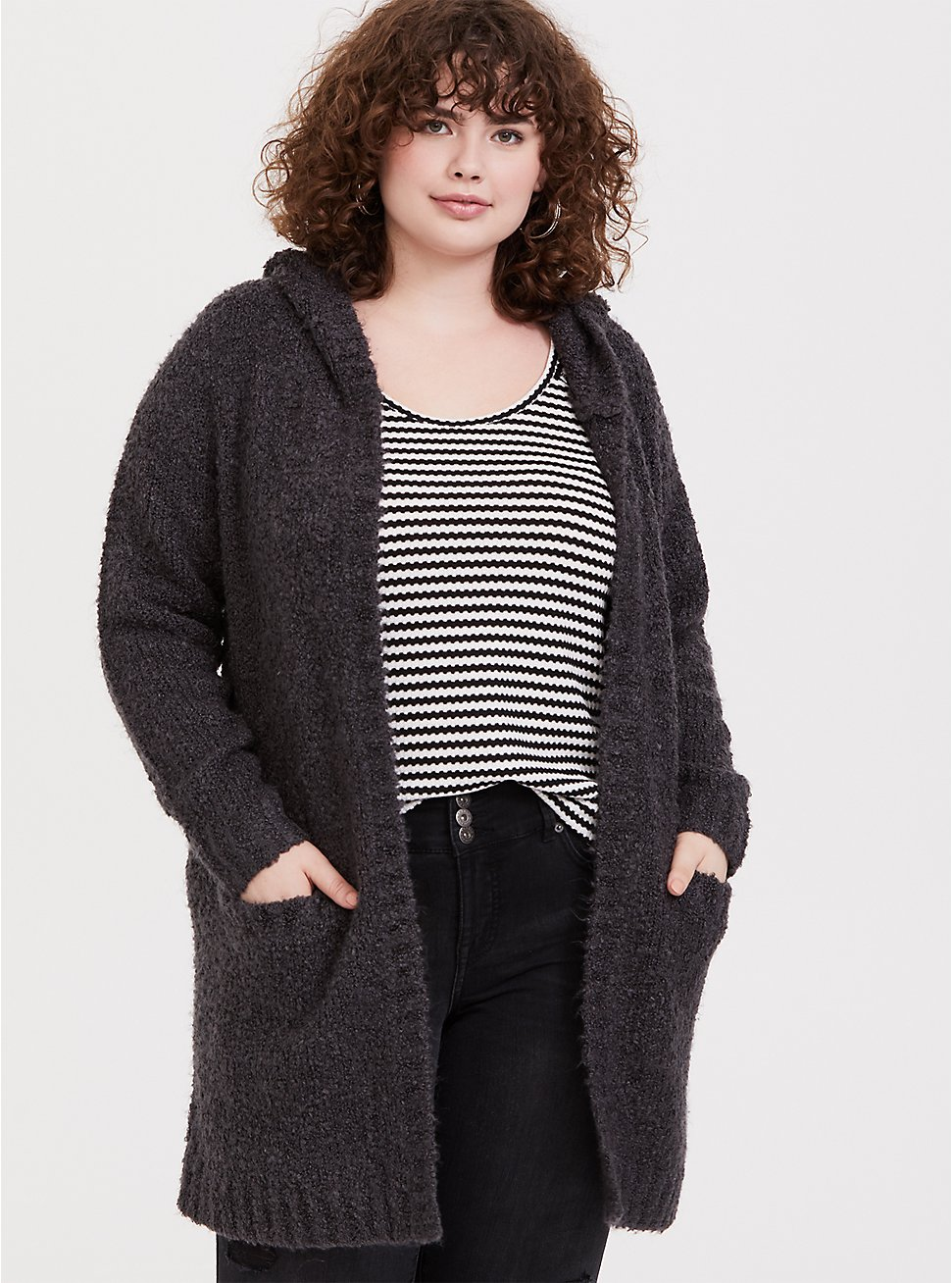 Charcoal Grey Boucle Hooded Cardigan Coat, , hi-res