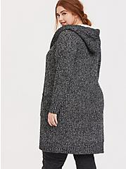 Dark Grey Marled Longline Hooded Toggle Cardigan, GREY, alternate