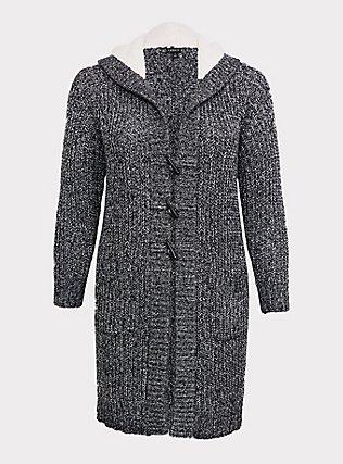 Dark Grey Marled Longline Hooded Toggle Cardigan, GREY, flat