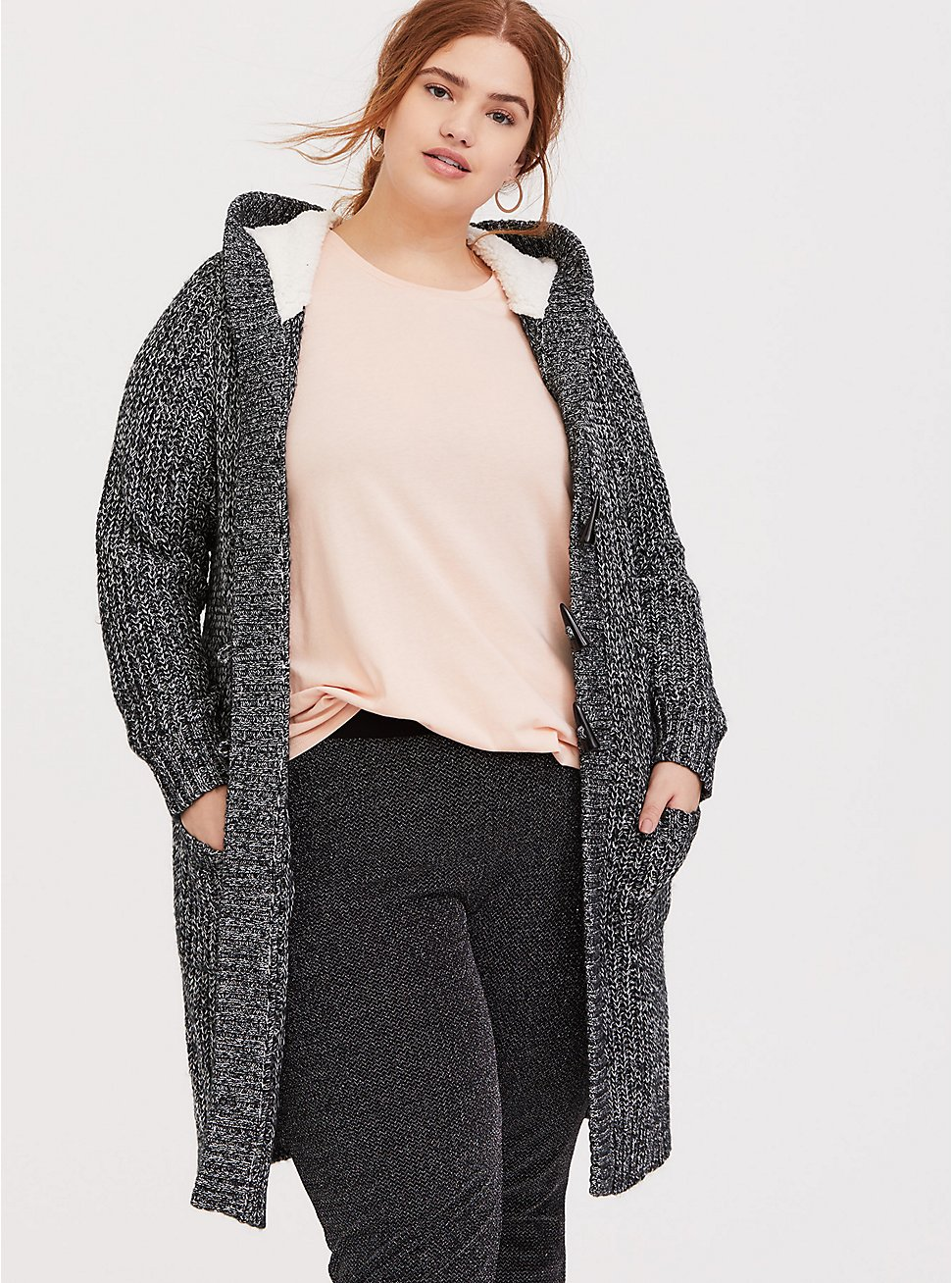 Dark Grey Marled Longline Hooded Toggle Cardigan, GREY, hi-res