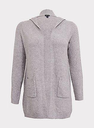 Grey Pointelle Hooded Cardigan, GREY, flat
