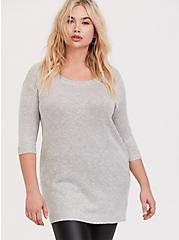Light Grey Boat Neck Tunic Pullover, IVORY, hi-res