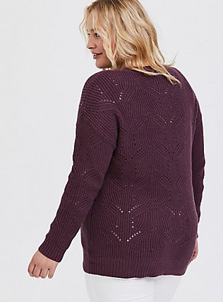 Plus Size Purple Wine Pointelle Pullover Sweater, EGGPLANT, alternate