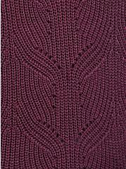 Purple Wine Pointelle Pullover Sweater, EGGPLANT, alternate