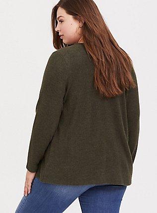 Super Soft Plush Olive Green Brushed Drape Front Cardigan, DEEP DEPTHS, alternate