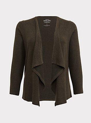 Super Soft Plush Olive Green Brushed Drape Front Cardigan, DEEP DEPTHS, flat