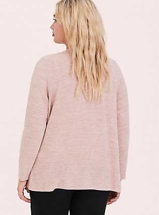 Super Soft Plush Dusty Pink Drape Front Cardigan, PALE BLUSH, alternate