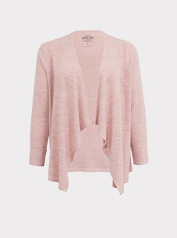Super Soft Plush Dusty Pink Drape Front Cardigan, , flat
