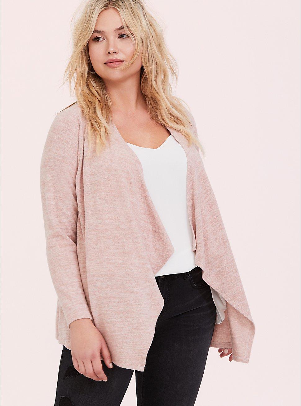 Plus Size Super Soft Plush Light Pink Drape Front Cardigan, PALE BLUSH, hi-res