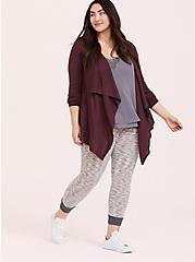 Grape Purple Mixed Stitch Drape Front Cardigan, EGGPLANT, alternate