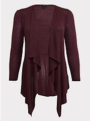 Grape Purple Mixed Stitch Drape Front Cardigan, EGGPLANT, hi-res