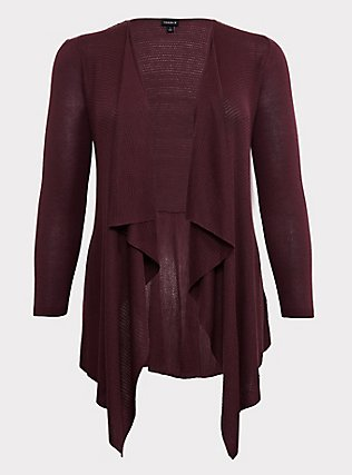 Plus Size Dark Purple Mixed Stitch Drape Front Cardigan, EGGPLANT, flat