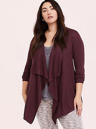 Plus Size Dark Purple Mixed Stitch Drape Front Cardigan, EGGPLANT, hi-res