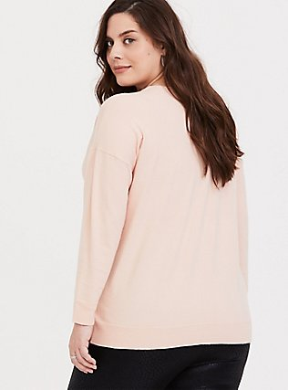 Blush Pink Sweater Knit Long Sleeve Top, PALE BLUSH, alternate