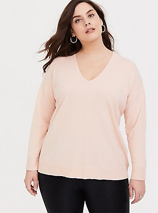 Blush Pink Sweater Knit Long Sleeve Top, PALE BLUSH, hi-res