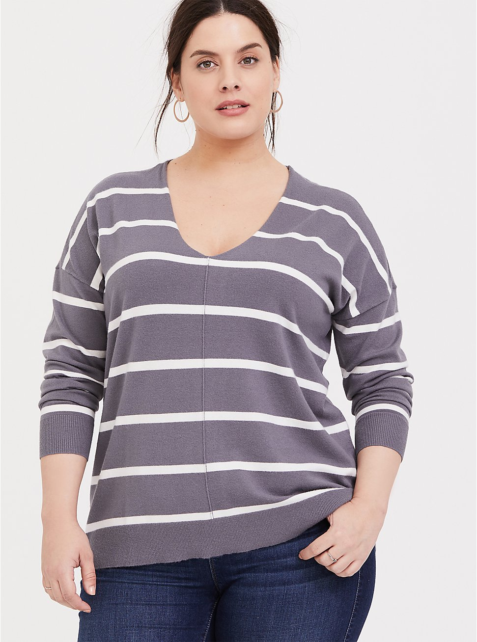 Slate Grey Stripe Pullover Sweater, STRIPES, hi-res