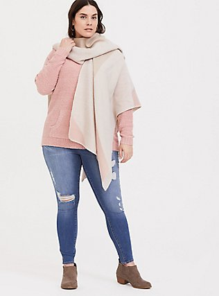Dusty Pink Fuzzy Pullover Hoodie, DUSTY QUARTZ, alternate