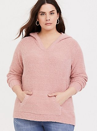 Dusty Pink Fuzzy Pullover Hoodie, DUSTY QUARTZ, hi-res