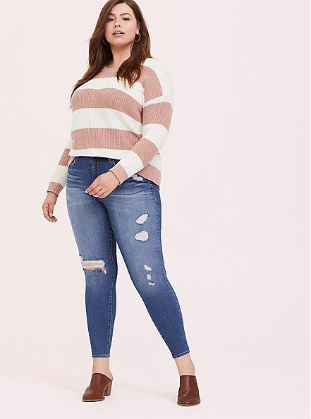 Plus Size Blush Pink Stripe Rib Pullover Sweater, STRIPES, alternate