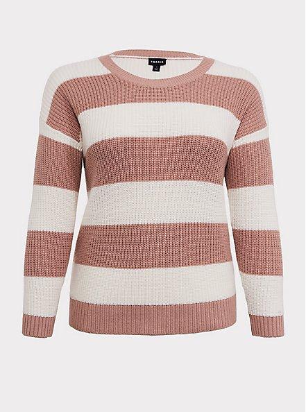 Plus Size Blush Pink Stripe Rib Pullover Sweater, STRIPES, hi-res