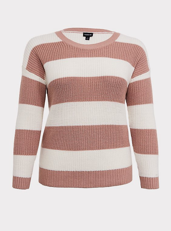 Blush Pink Stripe Rib Pullover Sweater, , flat