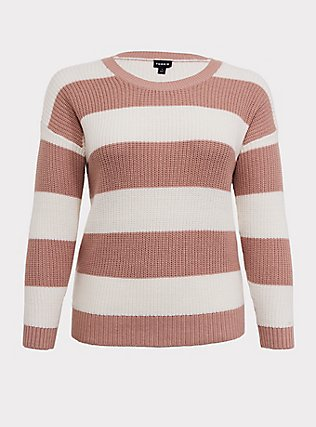 Plus Size Blush Pink Stripe Rib Pullover Sweater, STRIPES, flat