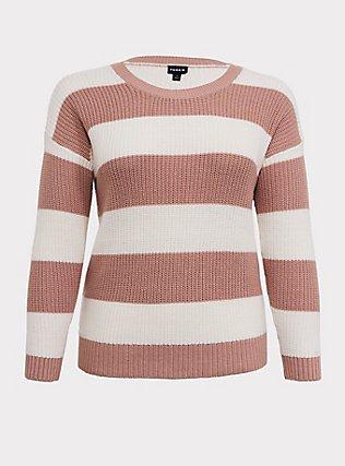Blush Pink Stripe Rib Pullover Sweater, STRIPES, flat