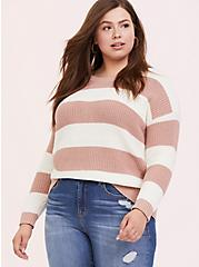 Blush Pink Stripe Rib Pullover Sweater, STRIPES, hi-res