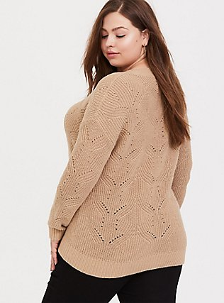 Plus Size Dark Taupe Pointelle Pullover Sweater, TOFFEE BROWN, alternate