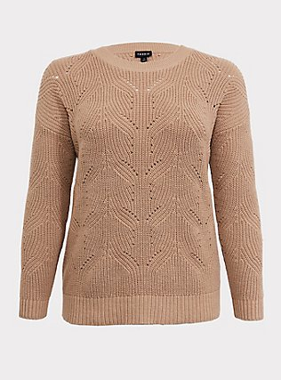 Plus Size Dark Taupe Pointelle Pullover Sweater, TOFFEE BROWN, flat
