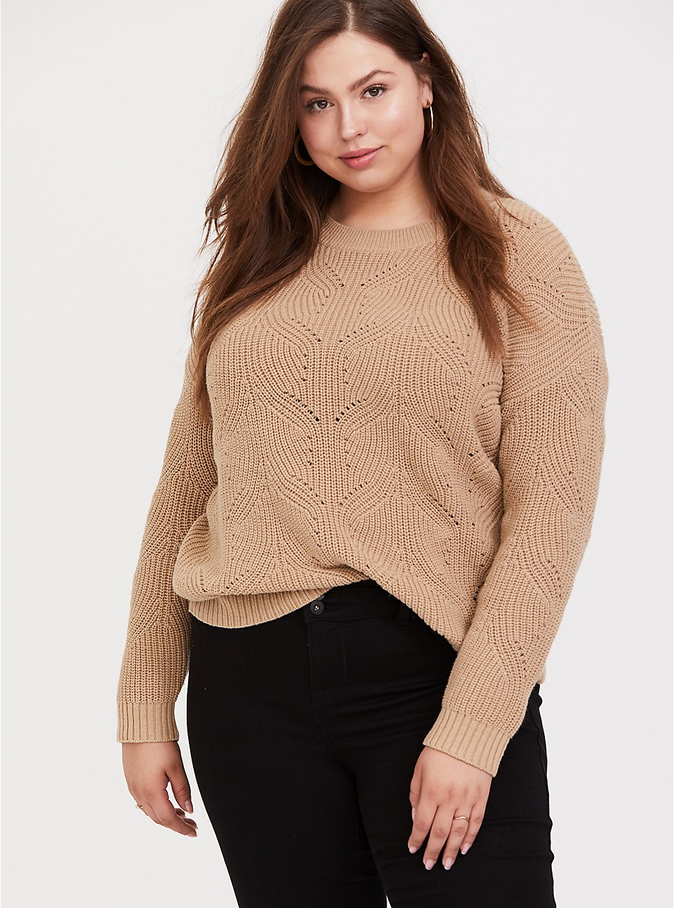 Plus Size Dark Taupe Pointelle Pullover Sweater, TOFFEE BROWN, hi-res