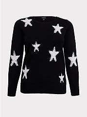Black & White Textured Star Pullover Sweatshirt, DEEP BLACK, hi-res