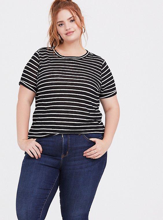 Black & White Striped Linen Crew Tee, , hi-res