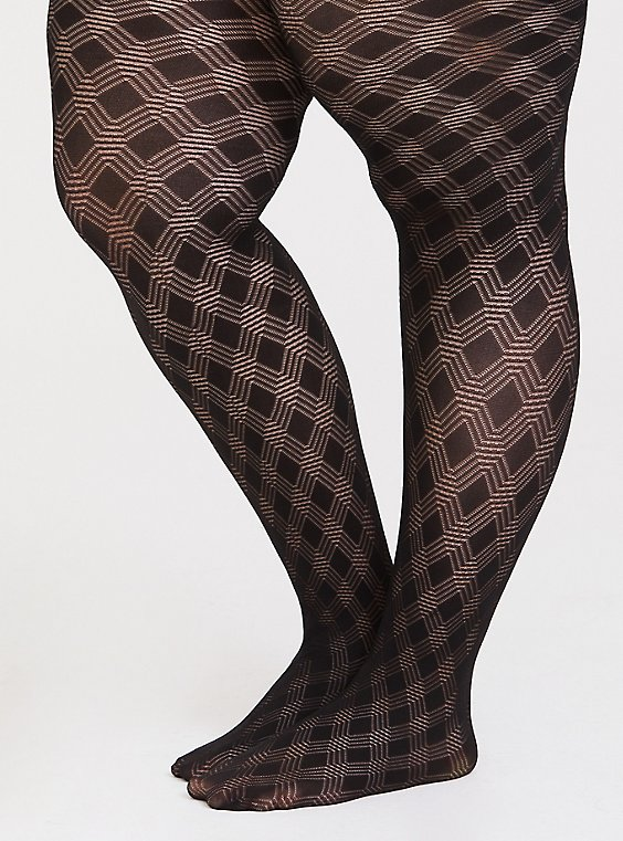 Black Plaid Pointelle Tights , , hi-res
