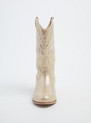 Plus Size Gold Faux Leather Stitched Cowboy Boot (WW), GOLD, alternate